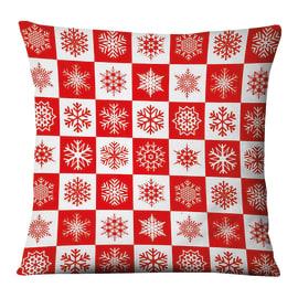 Fodera per cuscino Fiocchi Neve rosso, bianco 45x45 cm