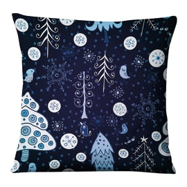Fodera per cuscino Fantasia Alberi blu, azzurro, bianco 45x45 cm