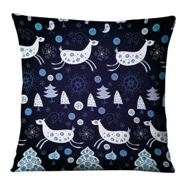 Fodera per cuscino Fantasia Renne blu, azzurro, bianco 45x45 cm