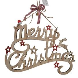 Decorazione Scritta MERRY CHRISTMAS in legno 30x20cm in legno L 30 x H 20 x P 1 cm