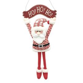 Decorazione Scriita HOHOHO con Babbo Natale in tessuto in tessuto L 28 x H 56 x P 1 cm