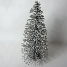 Decorazione Albero legno glitter color argento in legno L 17 x H 35 x P 17 cm
