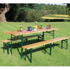 Set tavolo e sedie Birreria in acciaio marrone e nero 6 posti