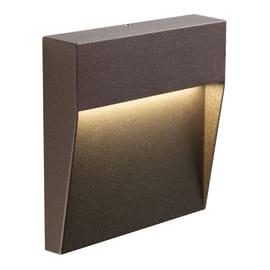 Faretto da incasso da esterno quadrato Geo Square LED integrato in fusione di alluminio, cioccolato, 3W 124LM IP65