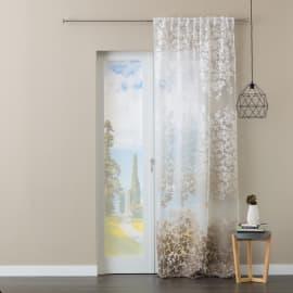 Tenda Fiori sfum beige/marrone fettuccia con passanti nascosti 140x280 cm