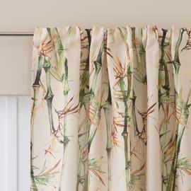 Tenda Bamboo crema con decoro fettuccia con passanti nascosti 140x280 cm