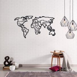 Decorazione da parete World Map Metal 100x53 cm