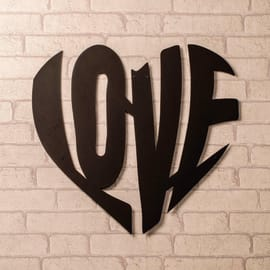 Decorazione da parete Love Nero 54x51 cm