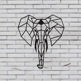 Decorazione da parete Elefante Nero 45x52 cm
