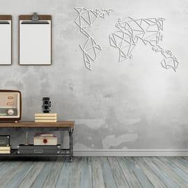 Decorazione da parete World Metal Bianco 120x60 cm