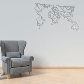 Decorazione da parete World Metal Argento 120x60 cm