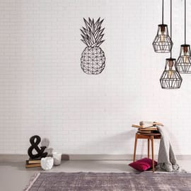 Decorazione da parete Ananas Metal Nero 22x55 cm