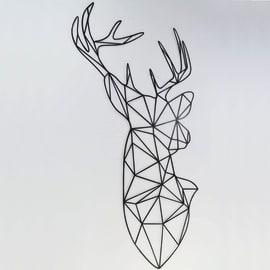 Decorazione da parete Metal Cervo Nero 50x27 cm
