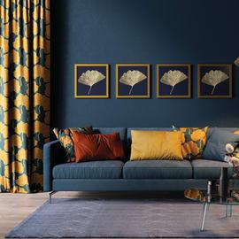Cuscino Ginko blu e arancione 45x45 cm