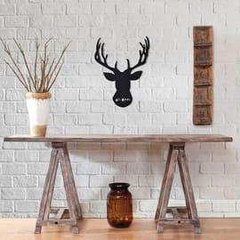 Decorazione da parete Metal Cervo Nero 50x40 cm