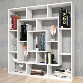 Libreria Frame 7 ripiani L 125 x P 20 x H 125 cm bianco