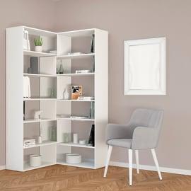 Libreria Twin 6 ripiani L 158 x P 30 x H 179 cm bianco