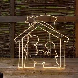 Capanna natività 1320 lampadine bianco caldo H 115 cm
