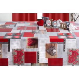 Tovaglia grigio, rosso e beige 140x140 cm