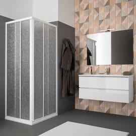 Box doccia rettangolare 1 anta fissa + 1 anta scorrevole Quad 68 x 68 cm, H 185 cm in acrilico, spessore 1.4 mm acrilico piumato bianco