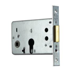 Serratura a incasso cilindro per porta garage o cantina, entrata 6.5 cm, interasse 43 mm, sinistra<multisep/>destra