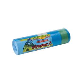Sacchi spazzatura Saccopratico L 55 x H 65 cm 40 L azzurro 20 pezzi