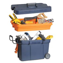 Baule porta utensili DEXTER con ruote e maniglia, volume di carico 56 L in plastica