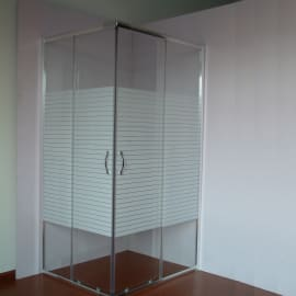 Box doccia rettangolare scorrevole Quad 70 x 90 cm, H 190 cm in vetro, spessore 4 mm serigrafato cromato