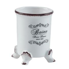 Bicchiere porta spazzolini Amelie in ceramica bianco