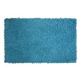 Tappeto bagno rettangolare Bouclettes in 100% cotone azzurro 80 x 50 cm