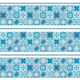 Tenda doccia Cementine in vinile blu L 240 x H 200 cm