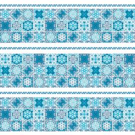 Tenda doccia Cementine in vinile blu L 180 x H 200 cm