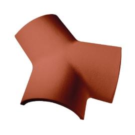Colmo a tre vie per coppo trafilato in terracotta 21 x 21 cm rosso