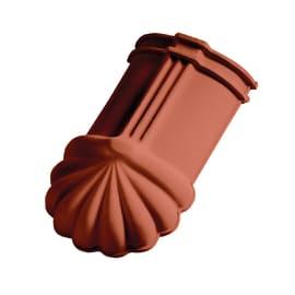 Finale di colmo per tegola Portoghese in terracotta 40.3 x 22.5 cm rosso