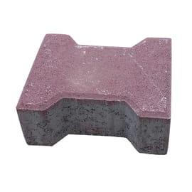 Lastra doppio t autobloccante cemento 16.3 x 19.8 cm Sp 80 mm rosso 0.032 mq