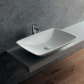 Lavabo da appoggio Rettangolare Pegaso in marmoresina L 63 x P 42 x H 19 cm bianco