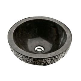Lavabo da appoggio Rotondo Merapi in pietra Ø 40 x H 15 cm nero