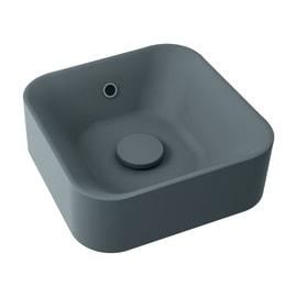 Lavabo free-standing da appoggio quadrato Capsule in resina L 38 x P 38 x H 13.2 cm grigio antracite