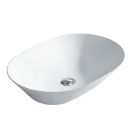 Lavabo da appoggio Ovale New Toulose in ceramica L 58 x P 42 x H 13 cm bianco