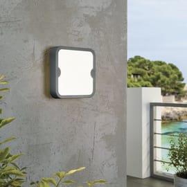 Applique Alfena-S nero quadrato LED integrato in alluminio, grigio, 10W 1000LM IP44