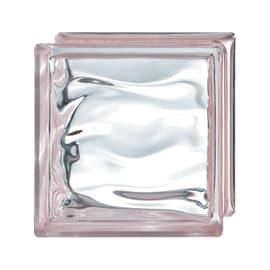Vetromattone rosa ondulato H 19 x L 19 x Sp 8 cm