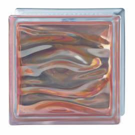 Vetromattone ambra ondulato H 19 x L 19 x Sp 8 cm