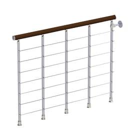 Balaustra faggio in legno grigio / argento L 1200 x P 120 x H 1000 mm