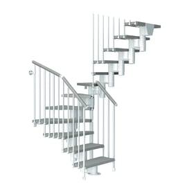 Scala a rampa a u Long FONTANOT L 65 cm, gradino tortora, struttura bianco