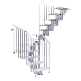 Scala a rampa a u Long FONTANOT L 65 cm, gradino bianco, struttura cromo