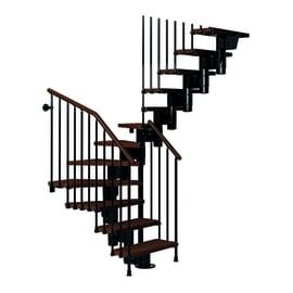Scala a rampa a u Long FONTANOT L 65 cm, gradino marrone, struttura nero