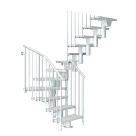 Scala a rampa a u Long FONTANOT L 75 cm, gradino bianco, struttura bianco