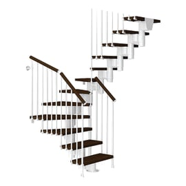 Scala a rampa a u Long FONTANOT L 65 cm, gradino marrone, struttura bianco