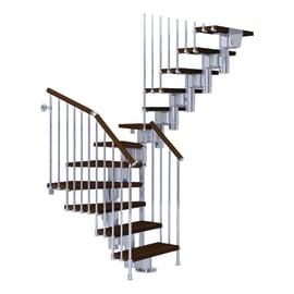 Scala a rampa a u Long FONTANOT L 65 cm, gradino marrone, struttura cromo