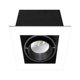 Faretto fisso da incasso quadrato Chris in metallo, nero, LED integrato 750LM IP23 INSPIRE